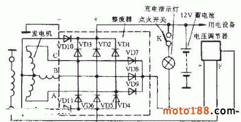 三相交流发电机配用的整流器是三相全波桥式整流器,电路如图